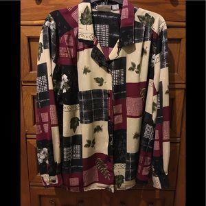 Alfred Dunner patchwork button down shirt.